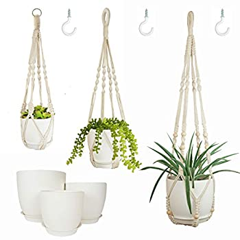 Bouqlife Macrame Plant Hangers with Pots Included No Tassel Set of 3 Indoor Hanging Planters Holder with Saucers & Hooks 34  / 23  / 20