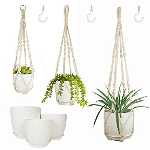 """Bouqlife Macrame Plant Hangers with Pots Included No Tassel Set of 3 Indoor Hanging Planters Holder with Trays & Hooks 34"""" / 26"""" / 20"""""""