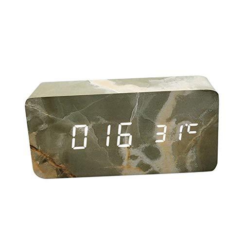 Zarupeng Digitale wekker, led-display klokken met stembesturingsfunctie, USB-oplaadaansluiting, snooze-functie, digitale klok, voor slaapkamer, kantoor en op reis
