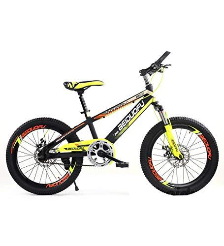 SJSF Y Fahrräder Einzelne Geschwindigkeit 16 Zoll Mountainbikes Einteiliges Rad Scheibenbremse Stoßdämpfung Kinderfahrrad 4 Farben Erhältlich,Yellow