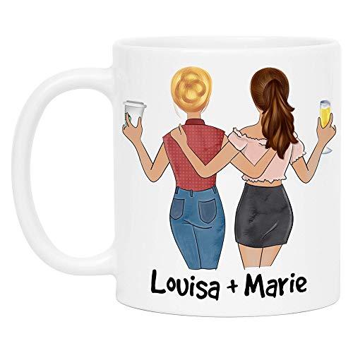 Kiddle-Design Beste Freundinnen Tasse Name Frisur Personalisiert Beste Freundin Geschenk Freundinnengeschenk Kaffeetasse Personalisieren