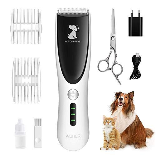 WONER Tierhaarschneidemaschine Hundeschermaschine Kit für Hunde Katzen 2 einstellbaren Geschwindigkeitsstufen Wiederaufladbare Drahtlose mit Schere