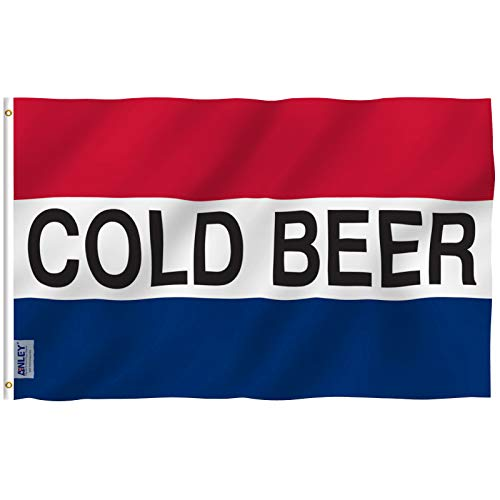Anley Fly Breeze 3x5 Foot Cold Beer Flag - Vivid Color and Fade Proof - Canvas Header and Double Stitched - Advertising Beer Flags Polyester with Brass Grommets 3 X 5 Ft