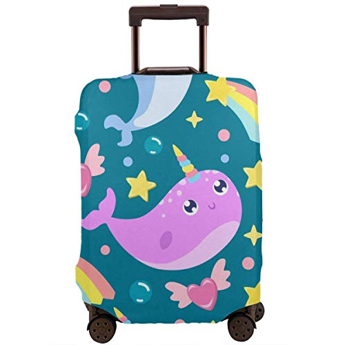 Narwhal Background Fashion Suitcase Protective Cover,Suitcase Protective Cover,Scratch-Resistant,dust-Proof and Waterproof, Washable,Suitable for 18-32 inches