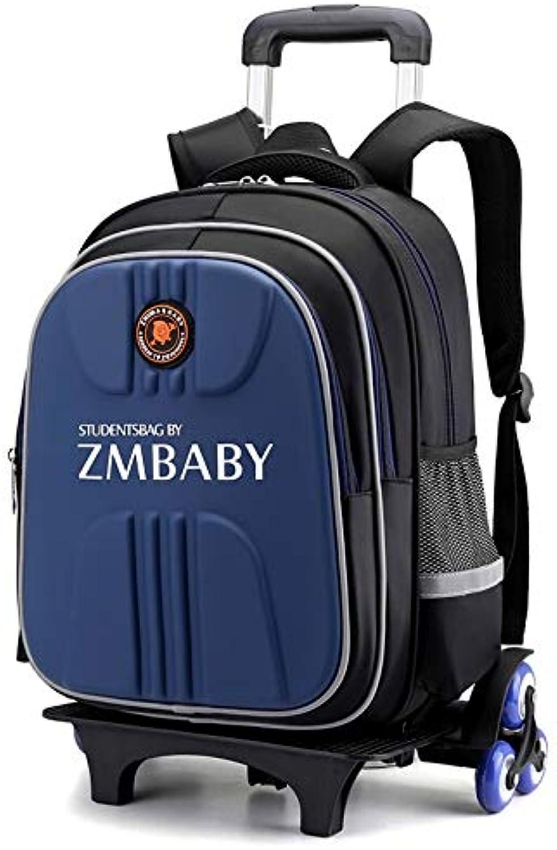 Qp-sb Sechsrdige Kinder-Trolley-Tasche für mnnliche und weibliche Schüler mit groem Fassungsvermgen Abnehmbarer Klettertreppen-Trolley 1-3-6 (Farbe   Blau)