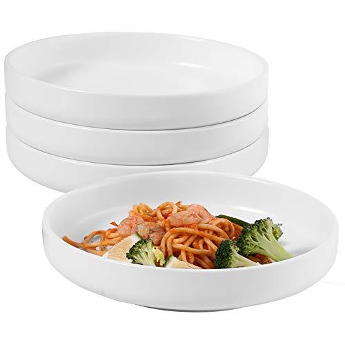 Hompiks Pasta Bowls Set of 4 Salad Pasta Bowls White Shallow Serving Bowl Ceramic Plates and Bowls Microwave and Dishwasher Safe 28 oz
