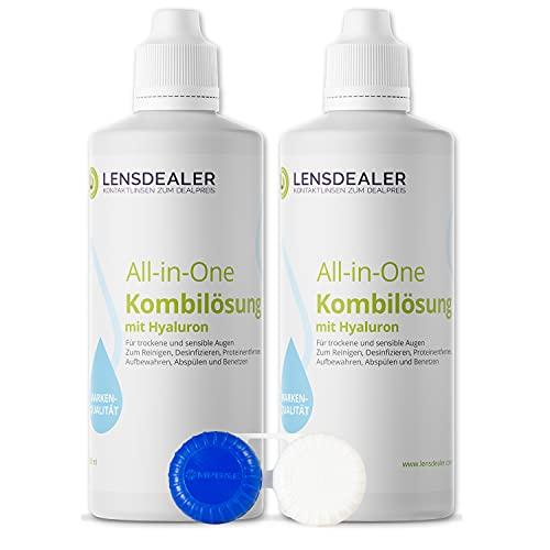 Lensdealer Kontaktlinsen Pflegemittel mit Hyaluron All-in-One Kombilösung 2x 360ml Kontaktlinsenflüssigkeit + 1x Linsenbehälter