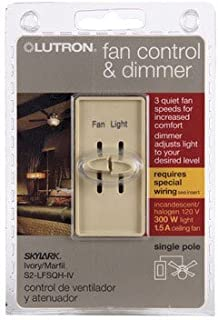 Lutron Electronics S2-LFSQH-IV Single Pole Quiet Light and Fan Control, 1.5