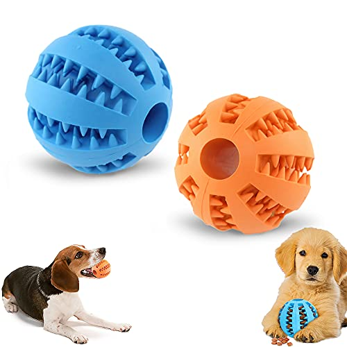 2 Stück Hundeball mit Zahnpflege-Funktion Noppen,Hundespielzeug Ball aus Naturkautschuk - Robuster HundeKauspielzeug Ball Ø 6cm,Hundeball für Zahnreinigung/Kauen/Spielen/IQ-Training