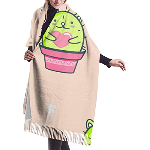 Laglacefond wintersjaal kasjmier feel schattige kawaii kat cactus bloempot hart sjaal sjaal wraps zachte warme deken sjaals