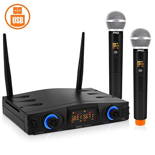 Sistema de micrófono inalámbrico UHF Pro compacto – Sistema de receptor de micrófono de escritorio con alimentación USB con control de volumen ajustable, incluye (2) micrófonos (2 canales)
