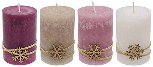 ZauberDeko 4 Adventskerzen Kerzen Stumpenkerzen Beere Beige Creme Schneeflocke Advent Weihnachten Deko Tischdeko