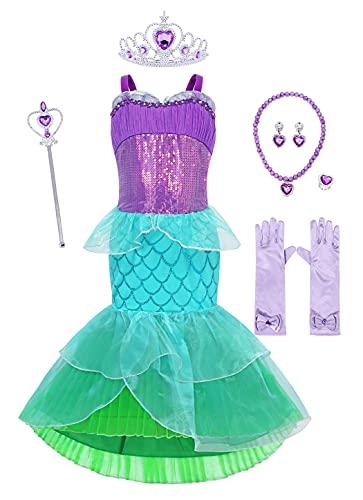 Jurebecia Princesa Vestidos Nias Sirenita Disfraz Vestidos Nias Outfit con Accesorio Halloween Fiesta de Cumpleaos Morado 4-5 Aos