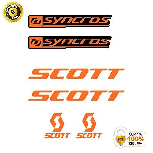 Pegatinas para Bici - Sticker Decorativo Bicicleta - Juego de Adhesivos en Vinilo para Bici Scott SYNCROS Pegatinas Cuadro Bici