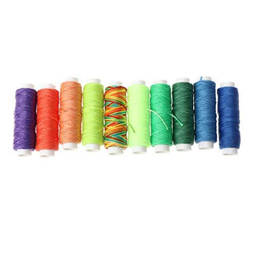 SUPVOX 10 Colores Hilo Encerado Hilo de Cuero Colorido Hilo de Coser Cuero Hilo de Coser a Mano para Coser a Mano Cuero y encuadernación