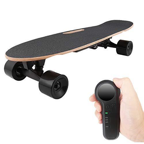 Aceshin Skateboard with Wireless Handheld Remote Control Maple Skateboard Cruiser (Black)