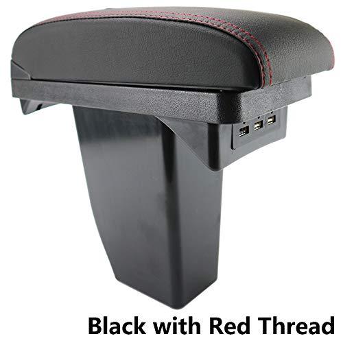 Reposabrazos de piel negra de doble capa para consola central de 2008