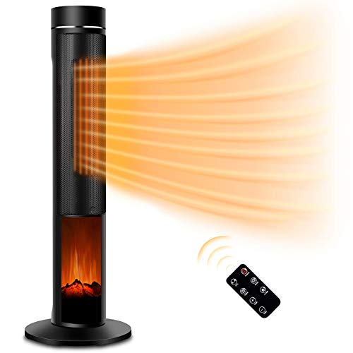 Electric Space Heater for Large Room - 36' Ceramic Tower Space Heater for Whole Room Heating w/ Thermostat, Fast Heating,3D Realistic Flame, Oscillating, Remote Control, Energy Efficient, Ideal for Personal Home/Livingroom/Bathroom Use, Slim Design