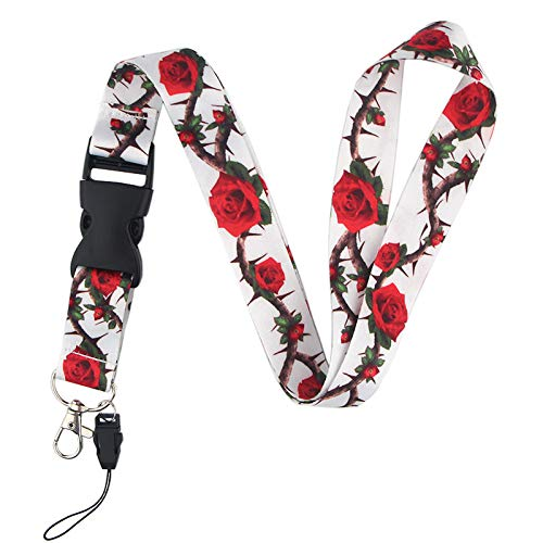 Retractable Badge Holder Rose Flower Keychain Lanyard Red Cute Floral Lanyard, Premium Quality Metal Clasp Wide Lanyard for ID Badge (1