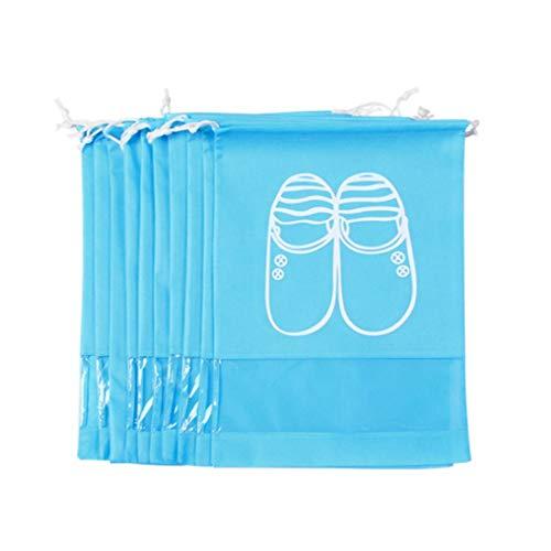 Hmg 10 PCS D-Pocket Bolsa de Zapato con cinturón de Dibujo no Tejido, tamaño Grande (Rosa) (Color : Blue)