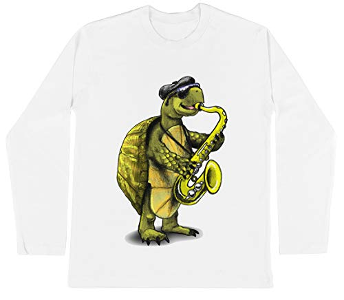 Schildpad Playing De Saxofoon Unisex Kinder Jongens Meisjes Lange Mouwen T-shirt Wit Unisex Kids Boys Girls's Long Sleeves T-Shirt White