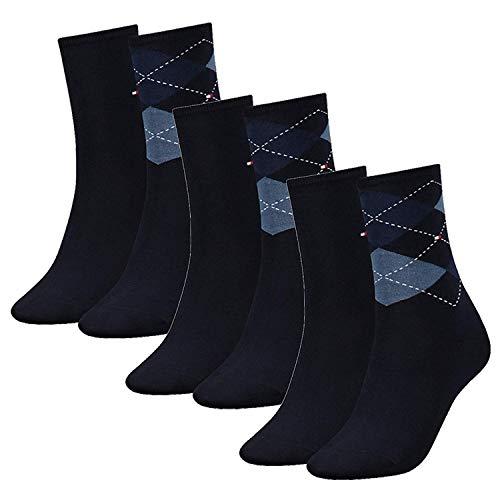 Tommy Hilfiger Damen Socken, Check Sock, Strümpfe, Rauten, 6er Pack (Dunkelblau, 35-38 (6 Paar))
