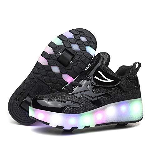 Super kids Enfants LED Chaussures avec roulettes LED Lumières Clignotante Chaussures de Skateboard Fille Garçon Outdoor Gymnastique Patins à roulettes Baskets avec Roues et USB Rechargeable