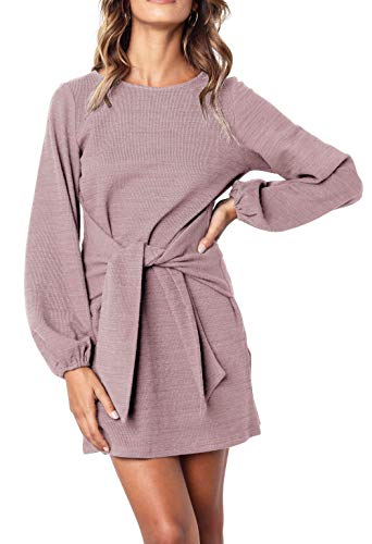 R.Vivimos Women's Autumn Winter Cotton Long Sleeves Elegant Knitted Bodycon Tie Waist Sweater Pencil Dress (Medium, Light Violet)