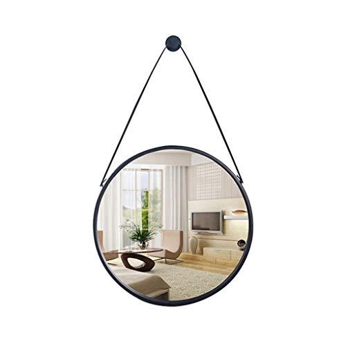 HTDZDX Montado en la Pared Espejo Redondo de Hierro Forjado Colgante de Pared hogar baño Dormitorio Sala de Estar decoración 3 Colores (Color : Black, Size : Diameter-40cm)