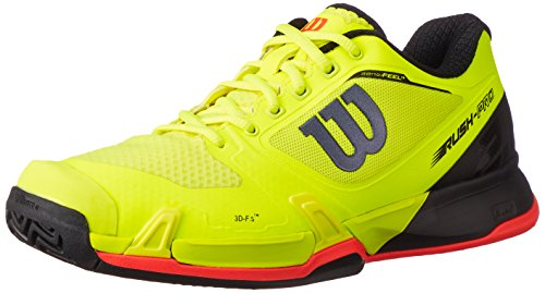 Wilson Men's Rush Pro 2.5 Safety Yellow/Black/Fiery Coral 9.5 D US