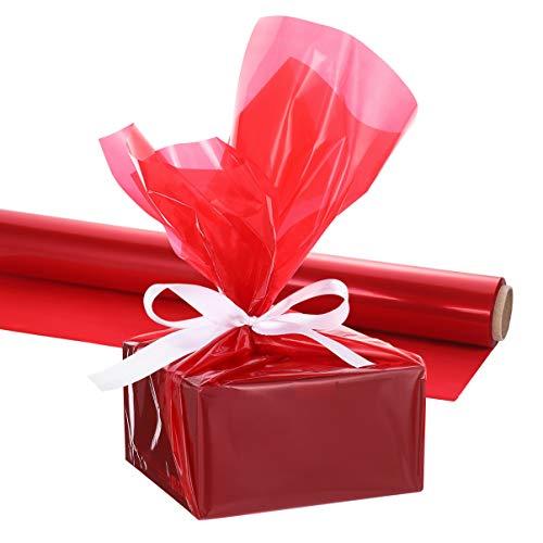 NUOBESTY Rollo de Envoltura de Celofán Rojo Navideño Rollo de Envoltura de Celofán de 3 Mil de Grosor Papel de Envoltura de Celofán Rojo para Artes Y Manualidades Canastas de Regalo (44 X