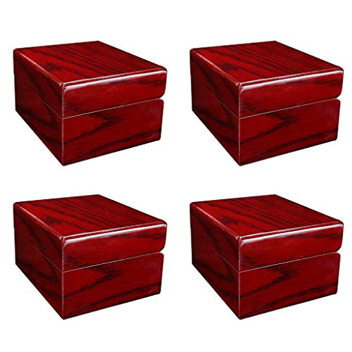 #N/A Caja de reloj de madera roja vintage de 4 piezas