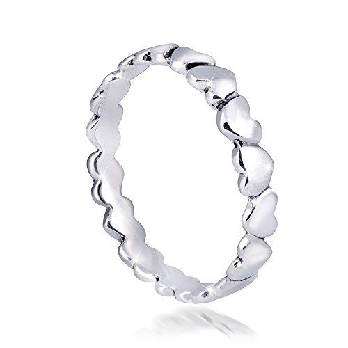 MATERIA Herz Ring 925 Sterling Silber - Liebe Schmuck Ring Damen Kinder Größe 51 16.2 mm mit Geschenk-Box SR-74-Gr.51