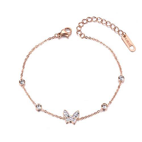 HMANE Pulsera de Cristal de Mariposa Bohemia para niña, Pulsera de Cadena y eslabones CZ de Acero Inoxidable para Regalo
