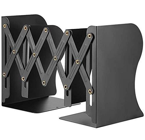Hiveseen 本立て ブックスタンド伸縮型 金属製 仕切りスタンド 卓上収納 雑誌/新聞/書類入 オフィス 黒