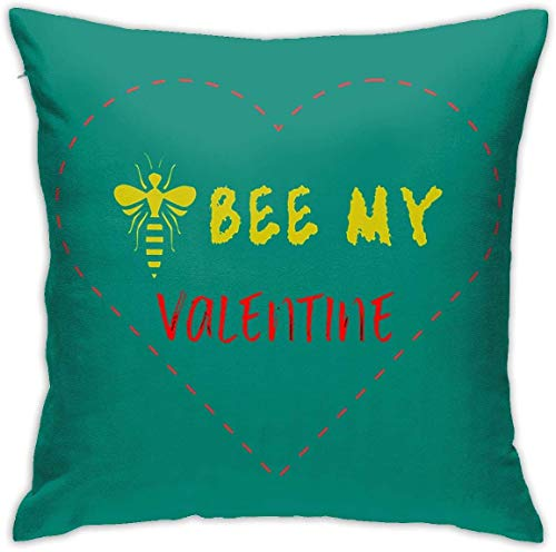 HOJJP My Valentine is Bee Square Throw Pillow Covers Set Cushion Cases Pillowcases for Sofa Bedroom Car 18 X 18 Inch