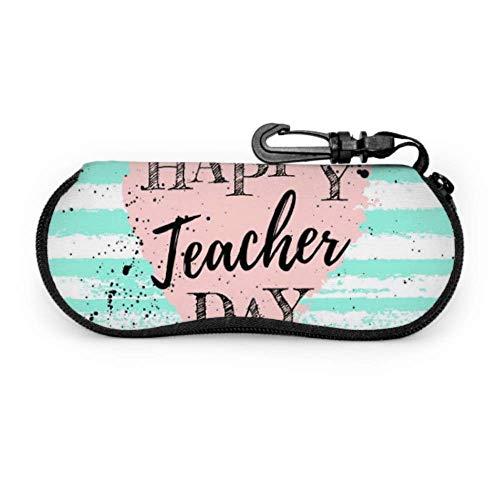 Funda para gafas con diseño de texto en inglés 'Happy Teacher Thank Day' con letras y funda para gafas de sol de neopreno con cremallera suave