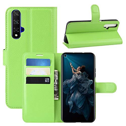 HualuBro Huawei Nova 5T Hülle, Leder Brieftasche Etui LederHülle Tasche Schutzhülle HandyHülle [Standfunktion] Handytasche Leather Flip Hülle Cover für Huawei Nova 5T 2019 (Grün)