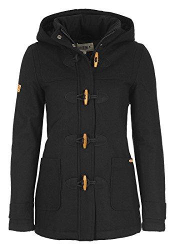 DESIRES Penna Damen Winter Jacke Parka Mantel Dufflecoat mit Stehkragen und Kapuze, Größe:M, Farbe:Black (9000)