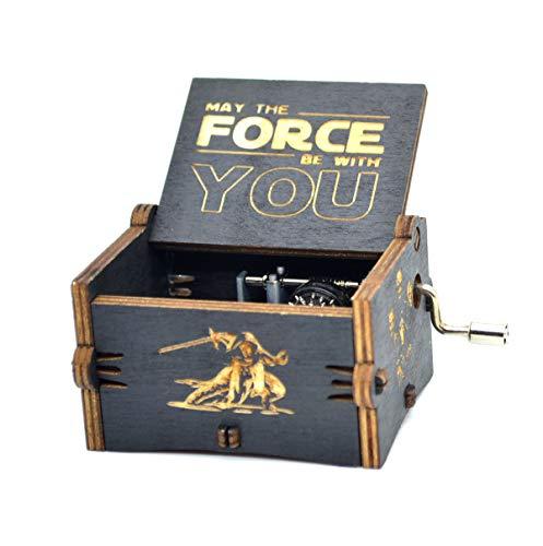 Y&S Star Wars Spieluhr, Holz, graviertes Geschenk, Spieluhr mit Handkurbel für Kinder, holz, Star Wars