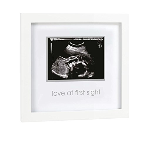 Pearhead Love at First Sight Sonogram Frame, Baby Ultrasound Frame, Baby Shower or Christmas Gift for Expecting Parents, White
