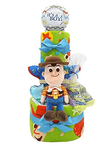 おむつケーキ ディズニー トイ・ストーリー タオルセット&ベビーグッズ付き B 3段 男の子用 ck-601b (パンパース新生児サイズ)