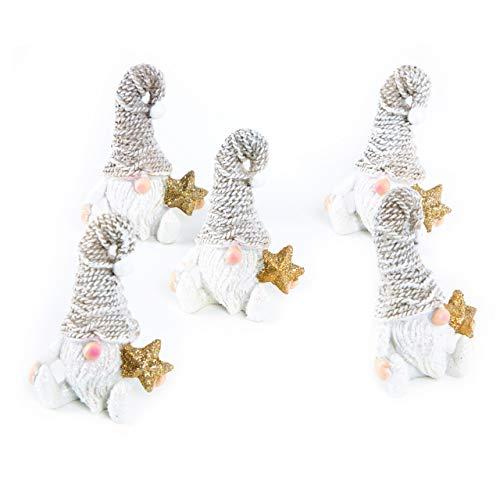 Logbuch-Verlag - Juego de 5 figuritas pequeñas de gnomo color blanco y marrón con estrella dorada y gorro de 7 cm - decoración de Navidad