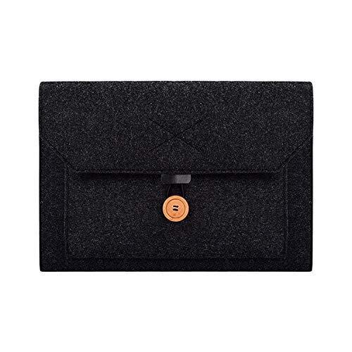 Yxxc Universal laptop bag ND06 multifunctional felt button laptop inner bag for 12.5-inch laptop (black) (Color : Black)