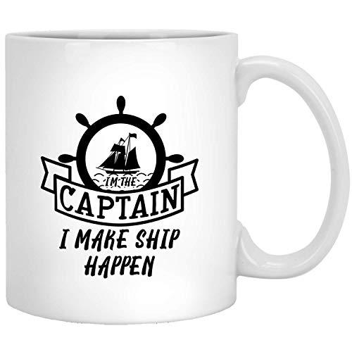 Ich bin der kapitän, die ich schikken was - grappig boot-cadeau-idee voor hem haar witte mok