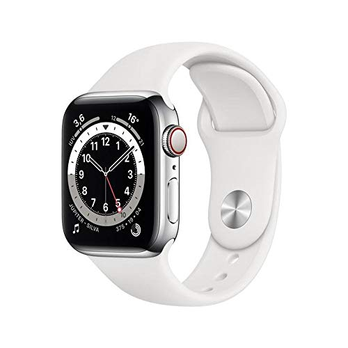 Apple Watch Series 6 Cellular + Gps, 40 mm, Aço Inoxidável Prata, Pulseira Esportiva Branco – M06t3be/a