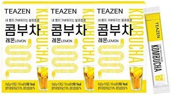 当日発送 TEAZEN コンブチャ(レモン)ボトルなし Kombucha Lemon 5g x 30stさわやかな果物の炭酸水の味! おいしい! 美容茶 减肥茶 健康茶 Beauty Tea Diet Tea Healthy Tea おまけ