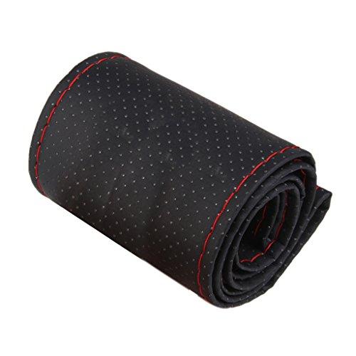 Cubierta Funda de Volante Coche Bricolaje de Hilo PU Cuero Negro Rojo