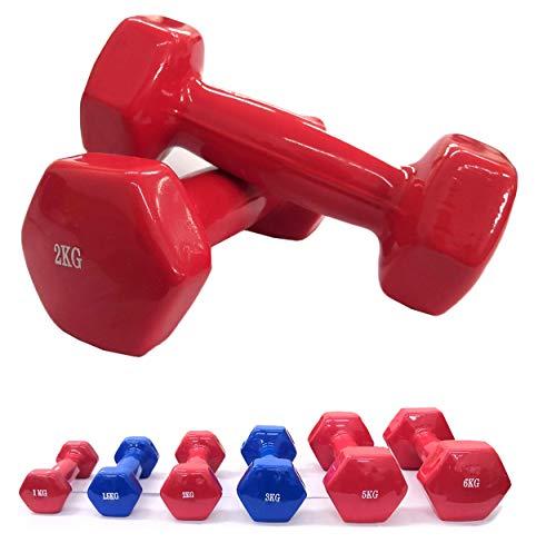 Lupex Shop Manubrio Pesi in Vinile Antiscivolo, da 1-1,5-2 - 3-5 - 6-15 - 20kg, Singolo o in Coppia, Palestra Fitness Body bulding (2X 1kg)
