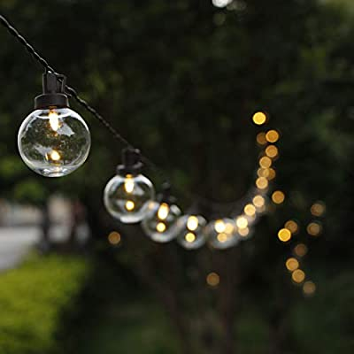 G40 Globe Solar String Lights, ZHONGXIN 38.6FT Outdoor String Lights Waterproof With 50 Warm White LED Plastic Bulbs, Great For Home Patio Garden Backyard Gazebo Christmas Wedding Party Décor …